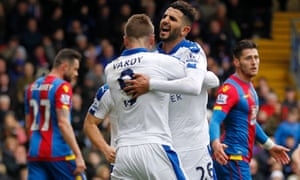 Leicester City's Riyad Mahrez celebrates after scoring.