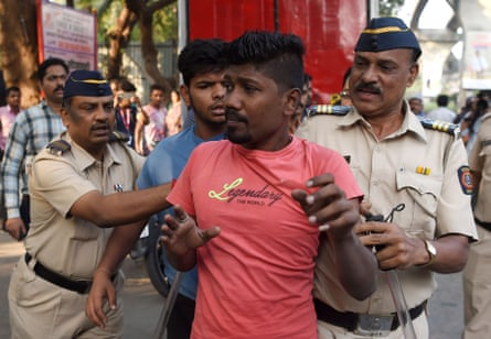 Indian police detain youths last week during a protest over the death of a young Dalit activist on the bicentenary of a British-Peshwa war.