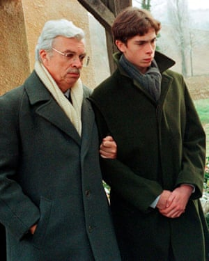 Daniel Toscan du Plantier attends the funeral of his wife Sophie, with her son Pierre-Louis in Mauvezin, near Toulouse in December 1996.