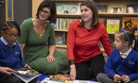Layla Moran visits a school with Jo Swinson during the 2019 general election campaign