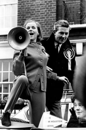 Honor Blackman campaigning for the Liberal Party in 1966