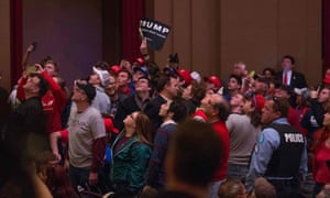 Trump supporters react to protesters at the rally. st louis