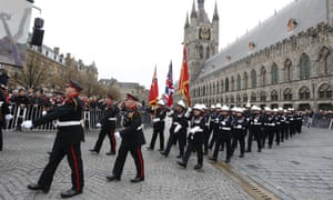 A special edition of the Last Post ceremony at Menin Gate, Ypres to commemorate the 100th anniversary of Armistice Day.