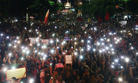 University professors and students protest in Rio against cuts to federal spending on higher education.