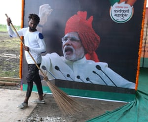 Preparations for a BJP rally featuring Narendra Modi in Bhopal, India.