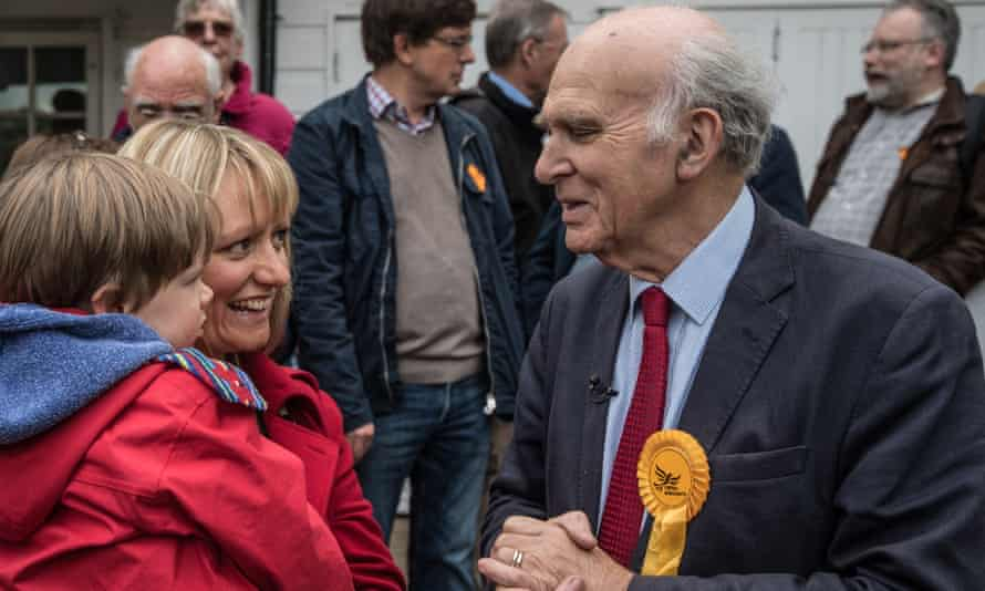 Vince Cable campaigning in Twickenham during April.