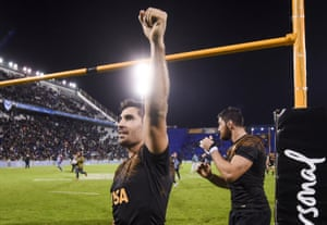 Jeronimo De La Fuente of Jaguares greets the fans after winning a Quarter Final match between Jaguares and Chiefs as part of Super Rugby 2019 on June 21, 2019 in Buenos Aires.