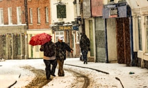People out in the snow in Leominster, Herefordshire