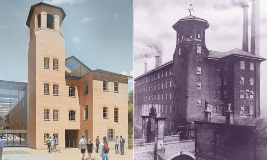 An impression of Derby's Museum of Making alongside a picture of the original silk mill taken in 1908, showing the now Grade I-listed iron gates.