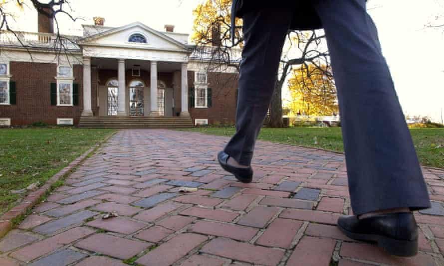 A visitor walks toward the entrance to Thomas Jefferson's home, Monticello, in Charlottesville. Jefferson founded the University of Virginia.