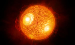The main picture, above, is constructed from images of Antares taken using ESO's Very Large Telescope. This image is an artist's impression of the red supergiant, based on the images and data captured.