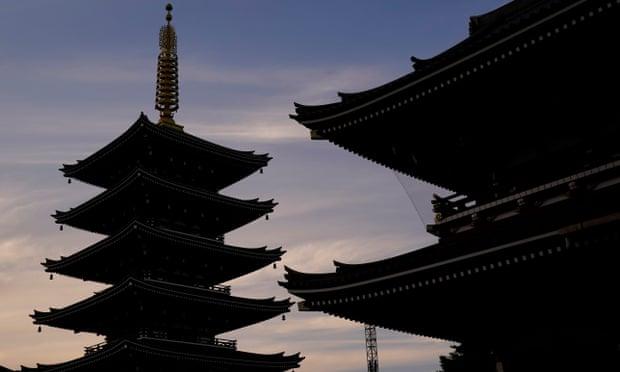 A pagoda at Sensoji temple in Asakusa, downtown Tokyo, Japan.