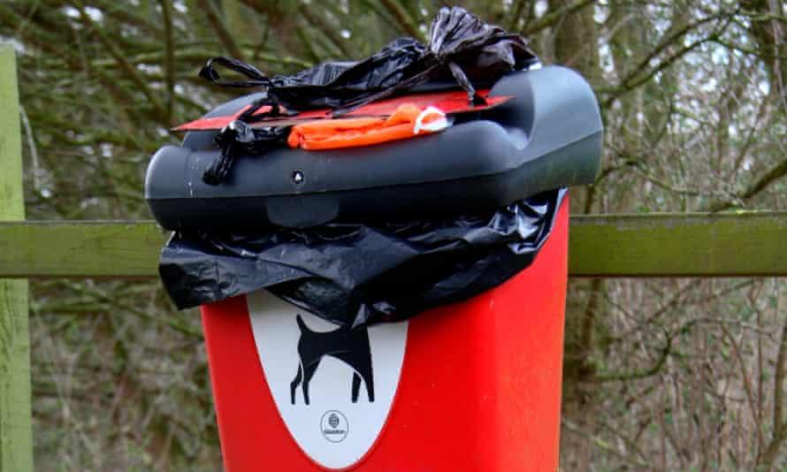 A dog waste bin