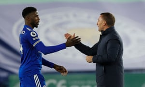 Brendan Rodgers congratulates Kelechi Iheanacho at the end of the match.