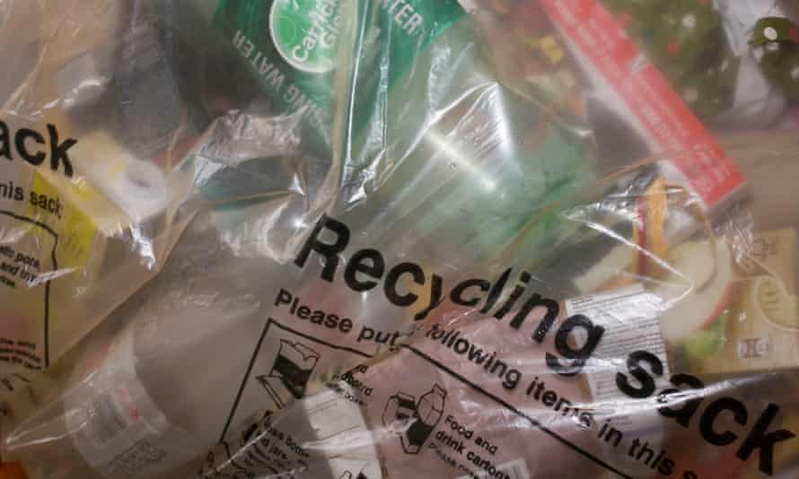 A bag of recycling