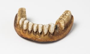 Lower ivory denture with human teeth c1800
