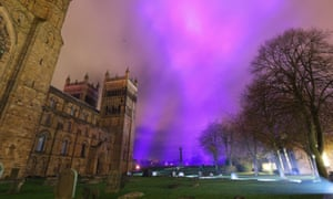 Lights at Durham Cathedral during a Lumiere rehearsal.