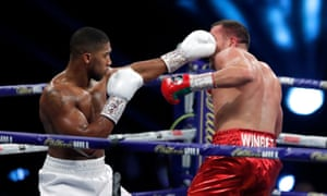 Anthony Joshua connects with a jab.