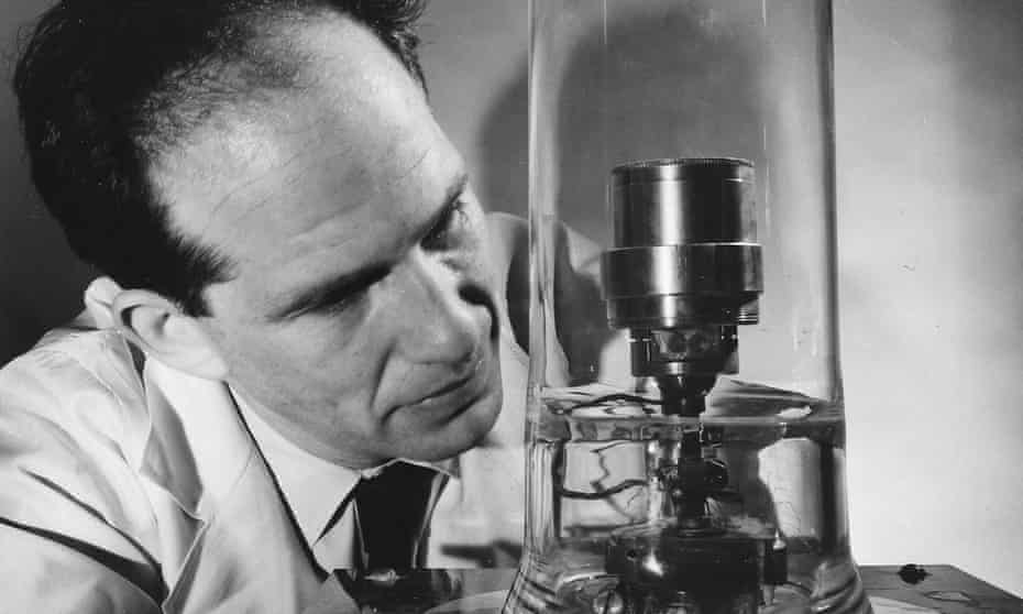 Physicist and Holocaust survivor Ben Abeles testing the thermoelectric generator for space exploration he helped develop in the 1960s.