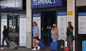 Passengers arriving at Manchester airport