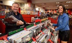 Outgoing Record Store Day ambassador Anthony Albanese with country music singer-songwriter Amber Lawrence at Red Eye Records in Sydney in 2018.