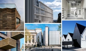 Monuments to invention … from top left, Hastings Pier, City of Glasgow College, Juergen Teller's photography studio, Command of the Ocean, the British Museum extension and Barretts Grove are all on the Stirling prize shortlist.