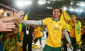 Tim Cahill celebrates after the final in Sydney.