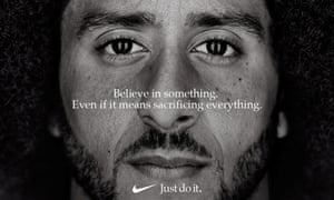Colin Kaepernick appears as a face of the Nike ad marking the 30th anniversary of its 'Just Do It' slogan.