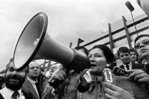 25 March 1980: Simone Veil, then health minister, addresses farmers at a demonstration in front of the European parliament in Strasbourg.