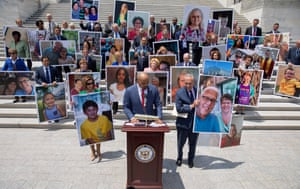 Washington D.C, USDemocratic House Speaker Nancy Pelosi (L), Democratic Representative from Texas Colin Allred (C) and Democratic Senate Minority Leader Chuck Schumer (R) are joined by other Congressional Democrats holding photos of constituents with pre-existing health conditions during a news conference in support of health care coverage of pre-existing conditions on the steps of the US Senate. The event at the Capitol comes on as the administration of US President Donald J. Trump supports a Texas lawsuit to eliminate pre-existing condition protections in the Affordable Care Act