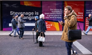 A mural explaining the plans to redevelop Stevenage town centre.