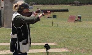 Bridget McKenzie firing a gun during a competition between politicians and members of the media held by the Parliamentary Friends of Shooting