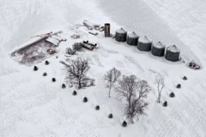 Iowa, USAn aerial view shows snow blanketing a farm in Rudd, Iowa. A winter storm dumped rain, ice and snow into much of the upper Midwest.