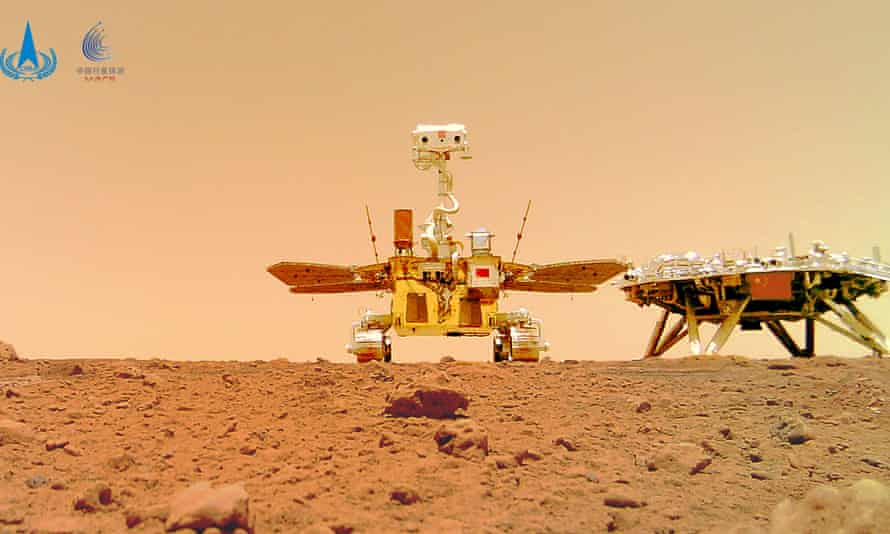 China's Zhurong Mars rover with its landing platform, which reached the planet in May