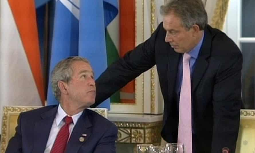 'Yo, Blair!': George W Bush lays some slang on Tony Blair at the 2006 G8 summit, unaware of a nearby microphone.
