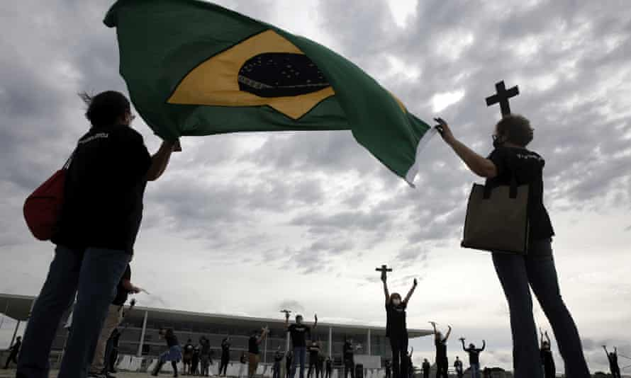 Demonstrators in Brasilia rally at the weekend in protest against the government's handling of the pandemic.