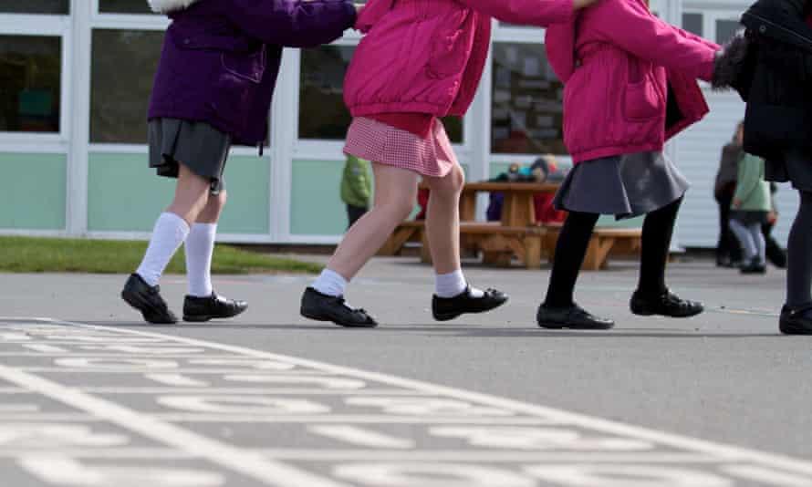 Schoolchildren playing outside