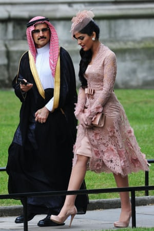 Alwaleed and his then wife, Ameera, at the wedding of the Duke and Duchess of Cambridge in 2011.