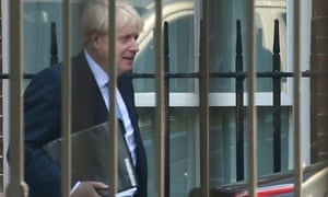 Boris Johnson leaving Number 10 this morning ahead of his statement to the Commons.