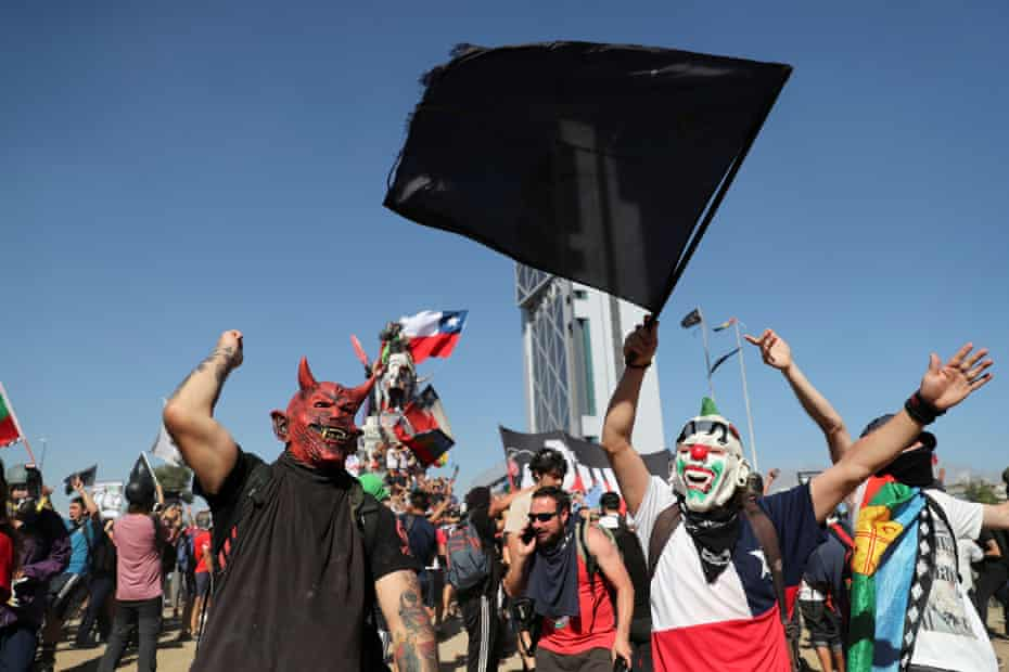 Protesters in Chile on Friday. The agreement could help end nearly a month of sometimes violent political unrest.