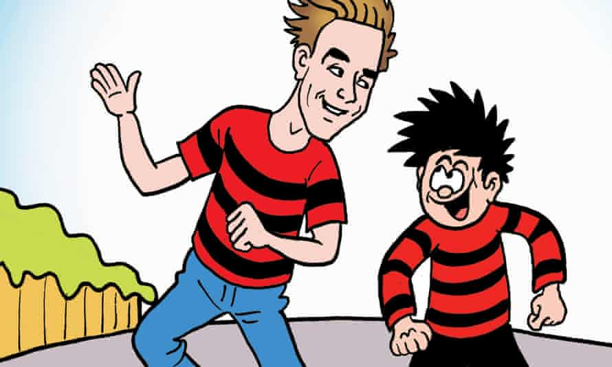 Dennis the Menace (right) with YouTuber and guest editor Joe Sugg.