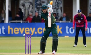 Alex Hales returned to action for Nottinghamshire against Northamptonshire on Monday after serving a 21-day ban for recreational drug use.