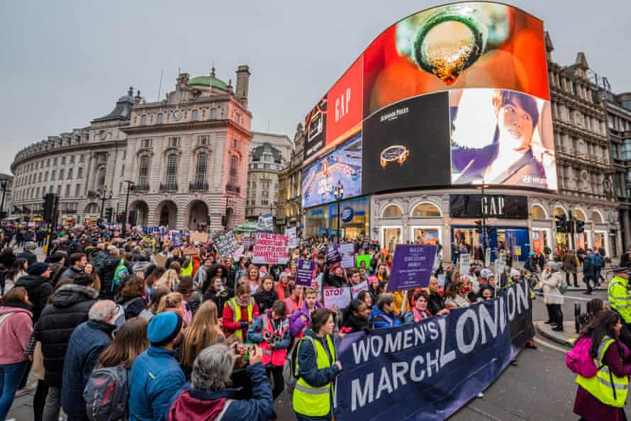 Women's March in Piccadilly Circus