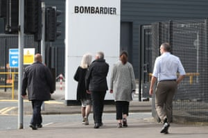 Workers at the Bombardier Aerospace plant in Belfast.