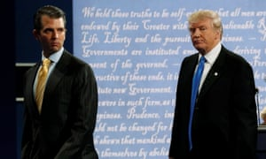 Donald Trump Jr with his father after his debate against Democratic nominee Hillary Clinton at Hofstra University in New York, 26 September 2016