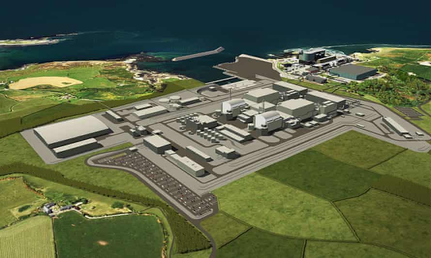 Computer generated image of the planned Wylfa power station on Anglesey in Wales