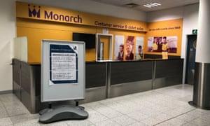 Monarch's customer services desk at Gatwick airport