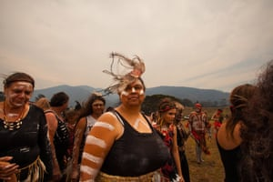 Anaiwan Amanda Foster steps into the ceremonial circle to sing under the mother mountain, the source of all life