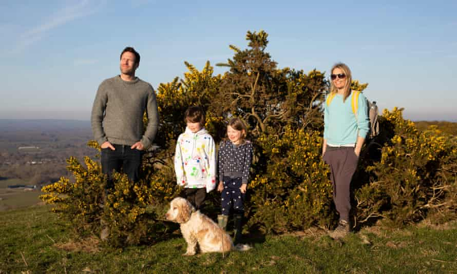 Walkers Laura, 40, Justin, 43, Hattie, 8, and Jackson, 9, near Ansty, South Downs