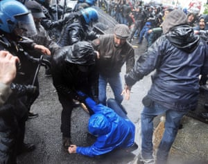 Turin, Italy Protesters clash with police